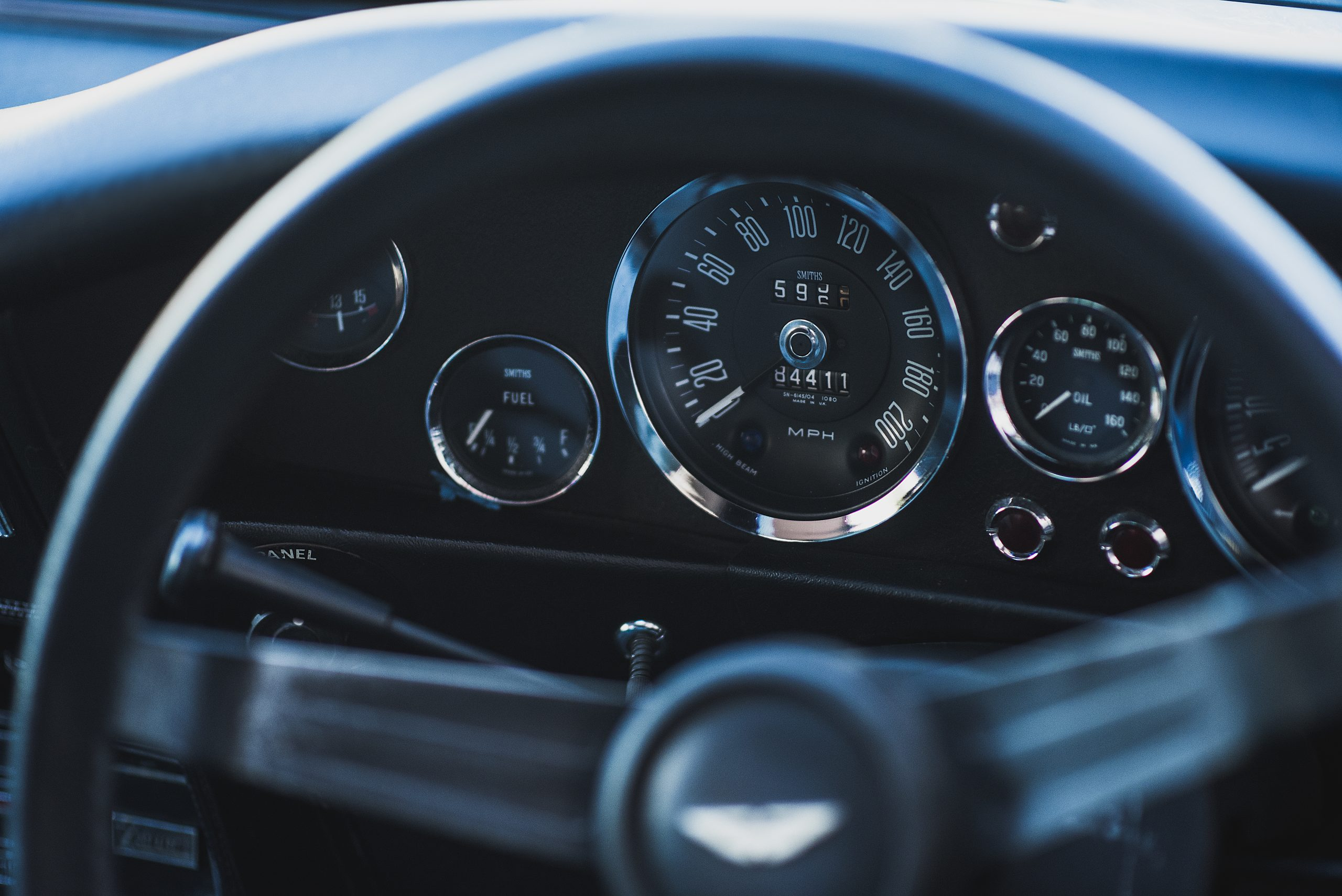 Close-up of the dashboard with the steering wheel in front